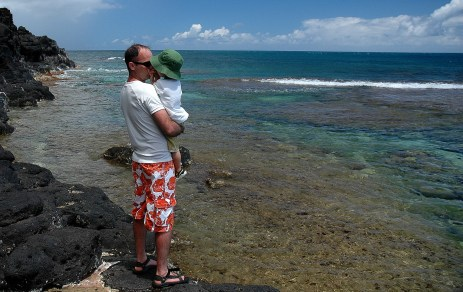 Dad and D on the rocks, sealodge beach