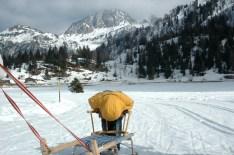 Pushing the sled, Nassfeld, Austria