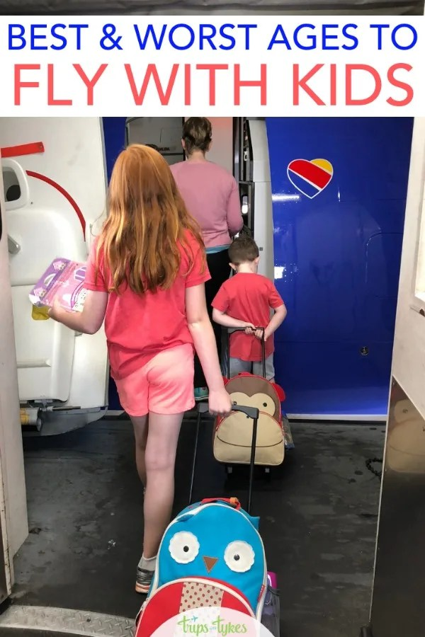 Taking kids on a plane?  The best and worst ages for flying with kids - babies, toddlers, preschoolers, and elementary aged children. Plus essential travel with kids tips! #airtravel #travelwithkids #flyingwithkids #familytravel
