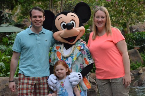 Posing with Mickey at the Makahiki character breakfast.