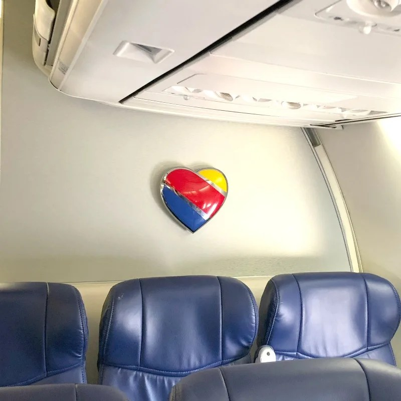 Southwest Airlines with Kids - Back Row of Seats with Southwest Heart