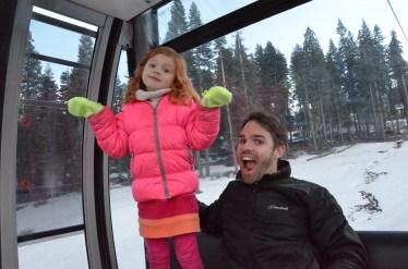 Riding the gondola.