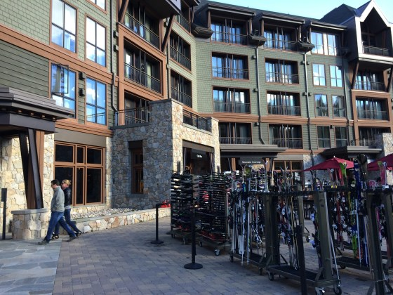Ski storage conveniently located on the back patio of the Ritz Lake Tahoe. Ski valet carries them to the slopes for you!