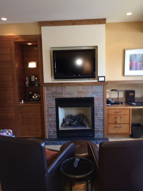 The cozy sitting area and fireplace was a favorite spot in our Ritz Lake Tahoe room.