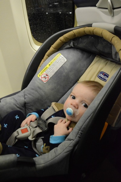 Baby in Car Seat on Airplane