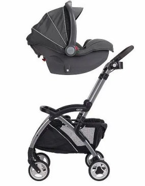 Use a stroller frame and infant car seat as an easy transport option with younger babies.