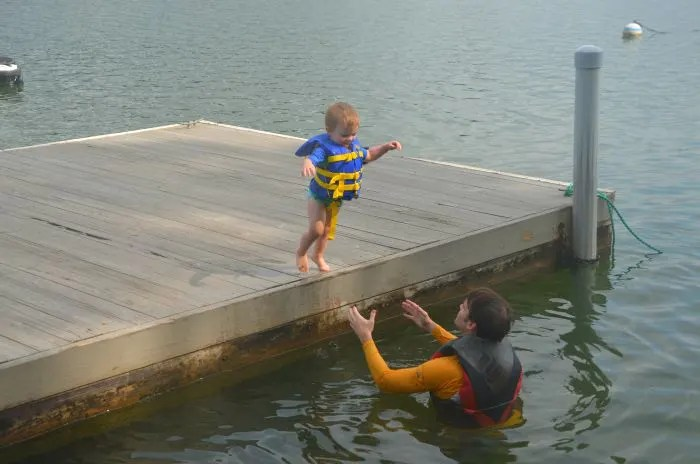 End of Summer Travel: Toddler Jumping into Lake Martin