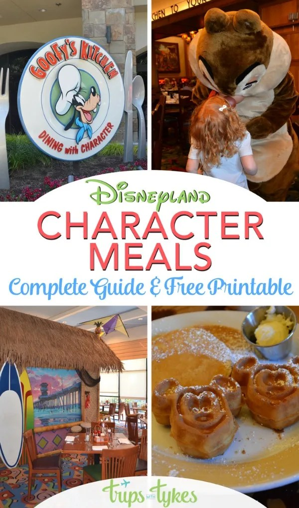 The ultimate guide to Disneyland character dining. Pick which character breakfast or character meal is right with your family with this handy free printable. Written by a mom and Disneyland expert who has dined at them all!