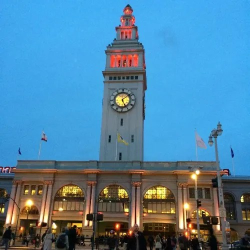 christmas in san francisco ferry building lights