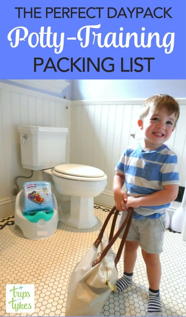 Packing List for Potty Training Toddlers: Planning an outing for the day with a potty training toddler? What to pack in your daypack, whether you're flying across the country or just down the road.