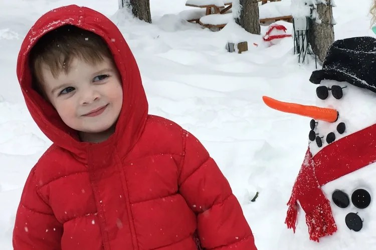 Skiing Northstar with Kids - Snowman and Toddler