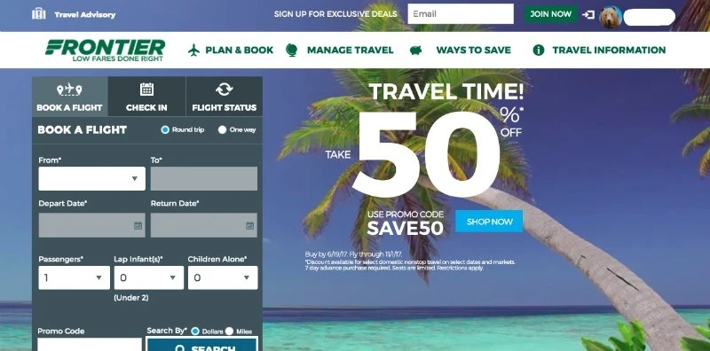 Frontier Airlines Booking Page