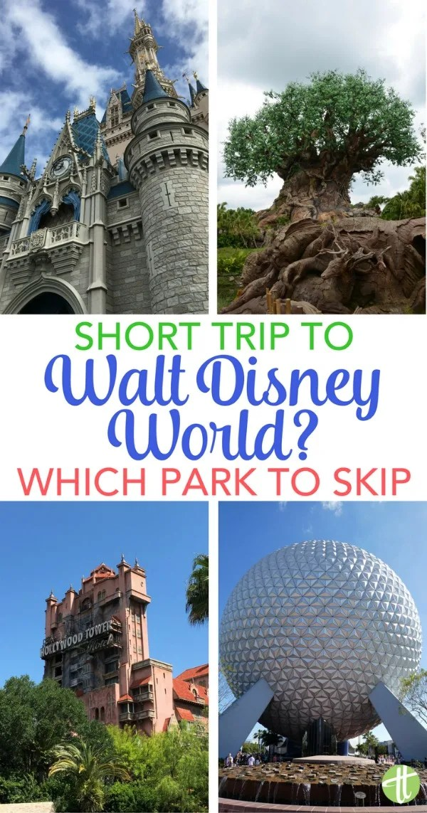 Planning a short trip to Walt Disney World? Figure out which park you should skip if you just can't do them all. Animal Kingdom? Hollywood Studios? Magic Kingdom? Epcot? Plus tips for maximizing short Disney vacations.
