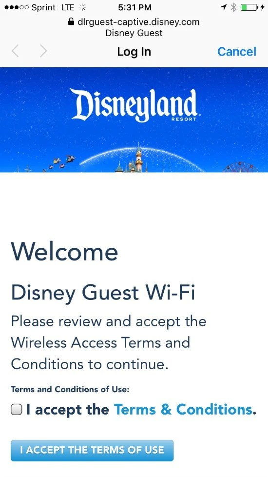 Disneyland MaxPass - WiFi Login