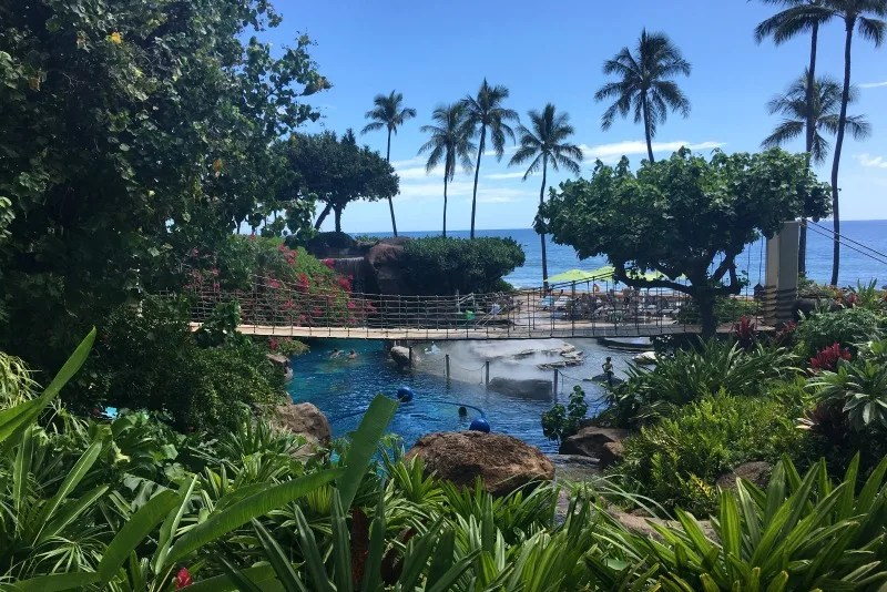 Things to do in Maui with Kids - Hyatt Waterslide and Water Play Area
