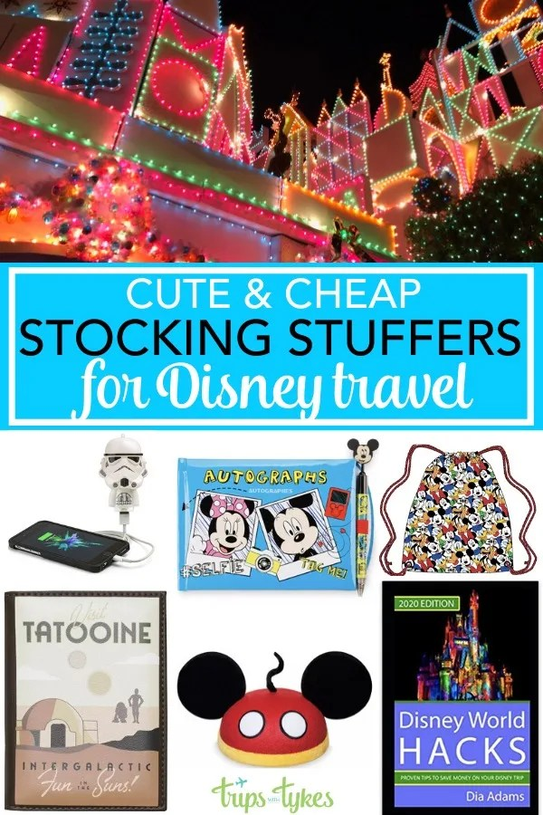 Stocking Stuffer Gift Ideas for Disney travelers - If you are traveling to Disneyland or Disney World next year, fill your family's stockings this holiday and Christmas season with inexpensive Disney-themed travel gear they can use for their next trip. #Disney #StockingStuffers #GiftGuide
