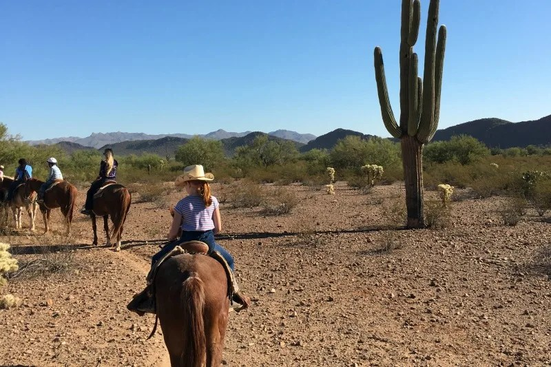 Dude Ranch with Kids - Trail Ride through Tucson Arizona Desert