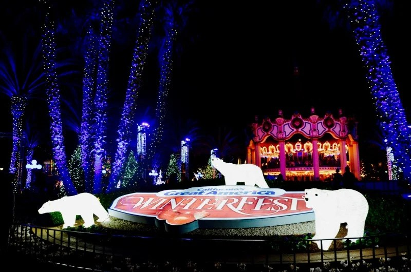 WinterFest at Great America - Entrance at Night