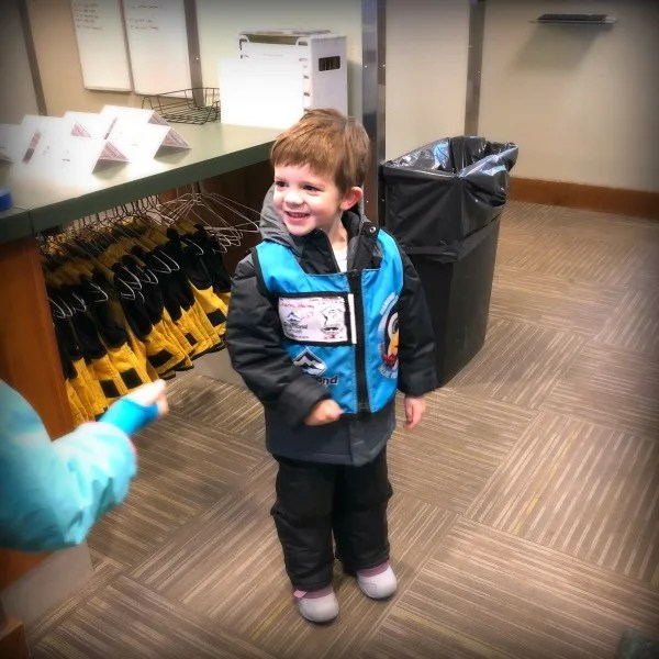 Dropping a preschooler off for his first time in ski school at Diamond Peak.
