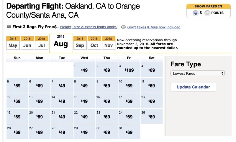 Southwest Airlines Flexible Fare Calendar Results