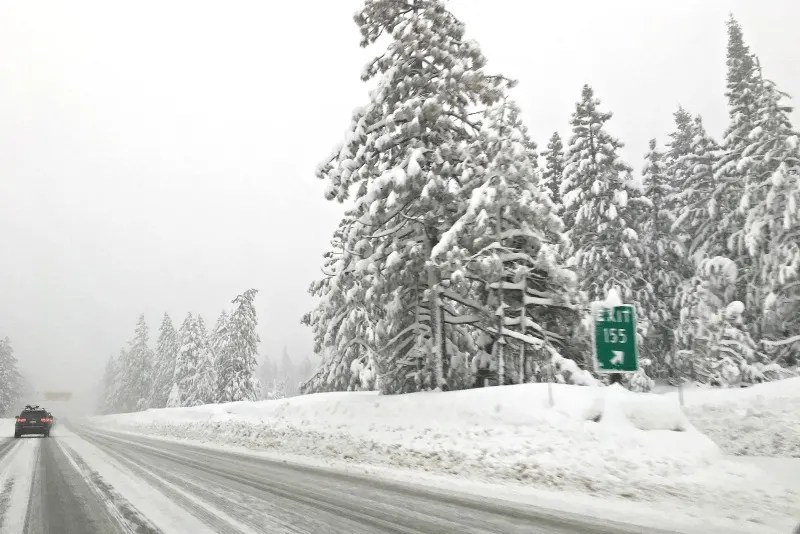 Winter Driving to Tahoe - Snow on Roads