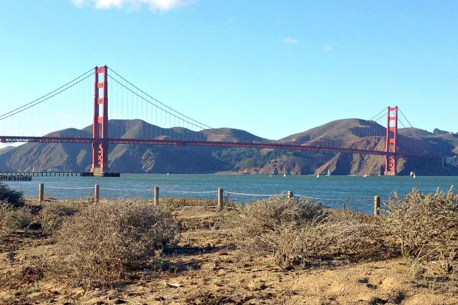 Viewing the Golden Gate Bridge from Crissy Field