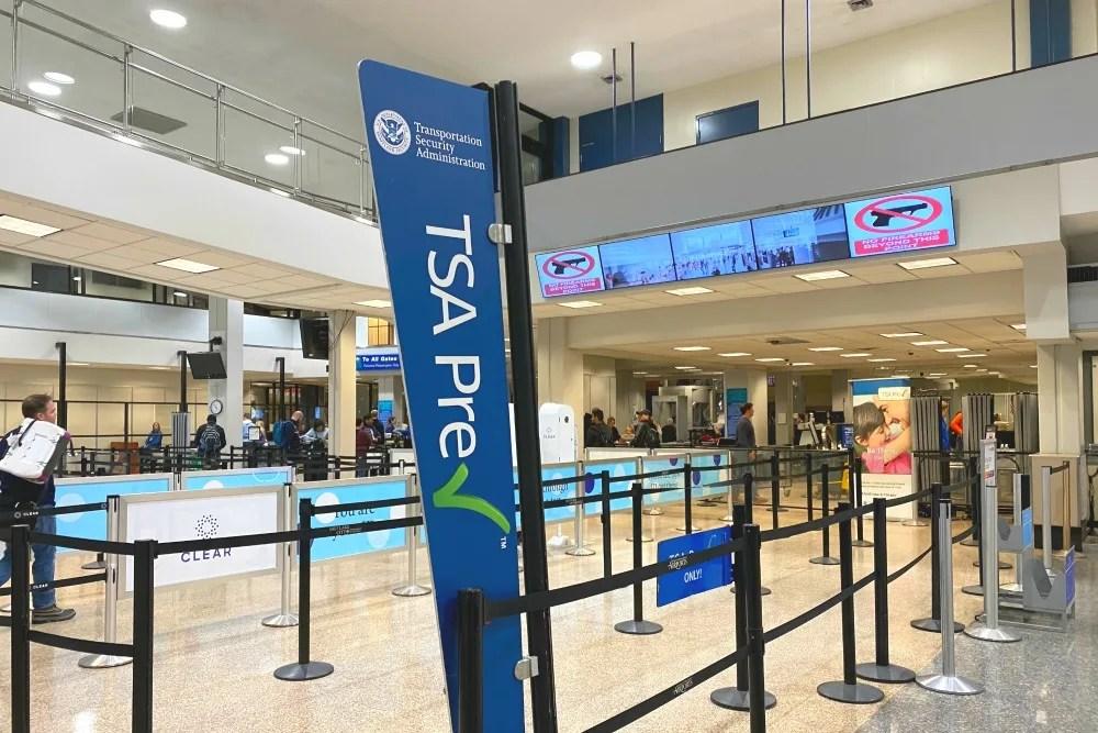 Empty Airport TSA Precheck Security Line