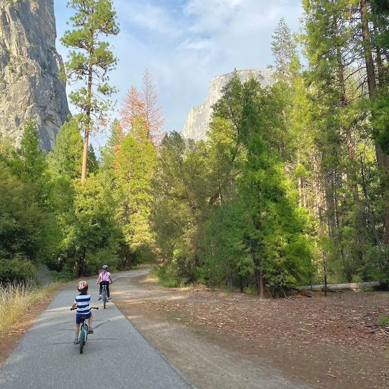 Yosemite National Park - Kids Biking near Half Dome