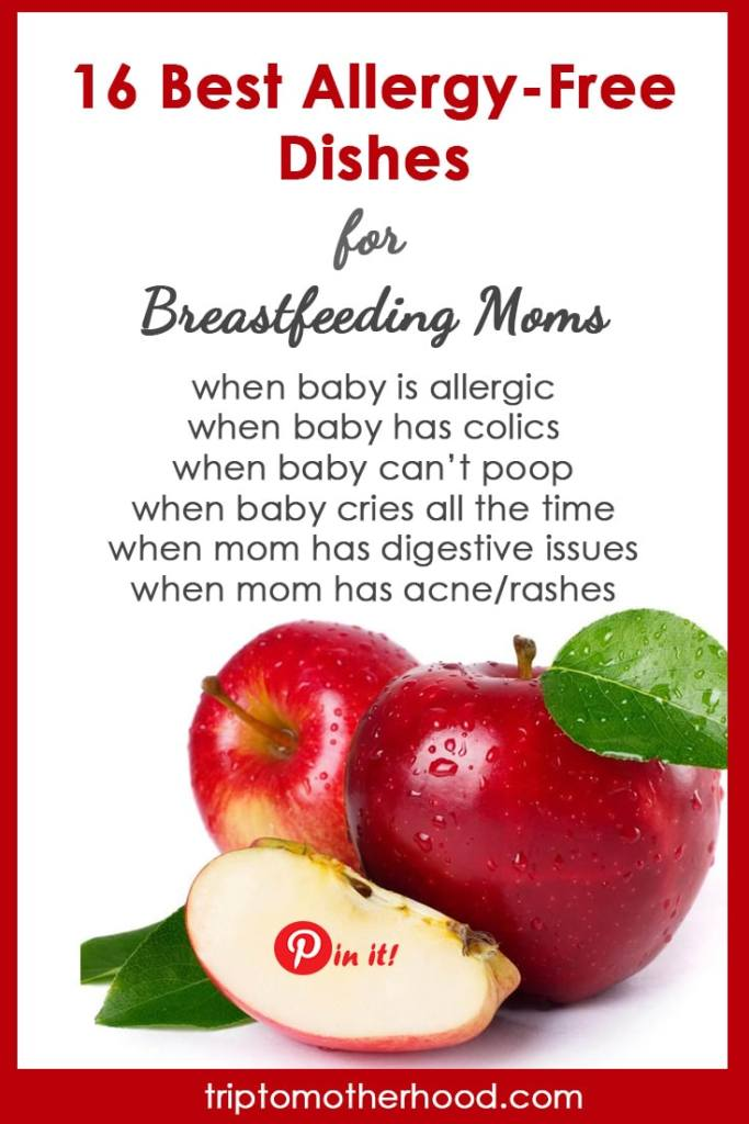 How to stop feeling bloated while breastfeeding? How to relieve your baby's colics and allergies? What to do when baby doesn't poop? The answer lies in a mom's diet! Here's a helpful guide for #newmoms with 16 best allergy-free dishes (with recipes!) that are easy to make, delicious and cause no problems! #breastfeeding #breastfeedingdiet #breastfeedingtips #babyallergies #babycolics #acnerelief