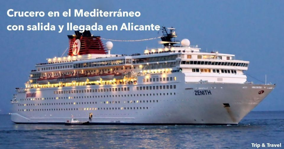 Crucero por el Mediterráneo con salida y llegada en Alicante, España, Zenith, Pullmantur, Italia, Civitavecchia, Roma, Niza, Mónaco, Spezia, Málaga, Francia, Florencia, Pisa, Villefranche
