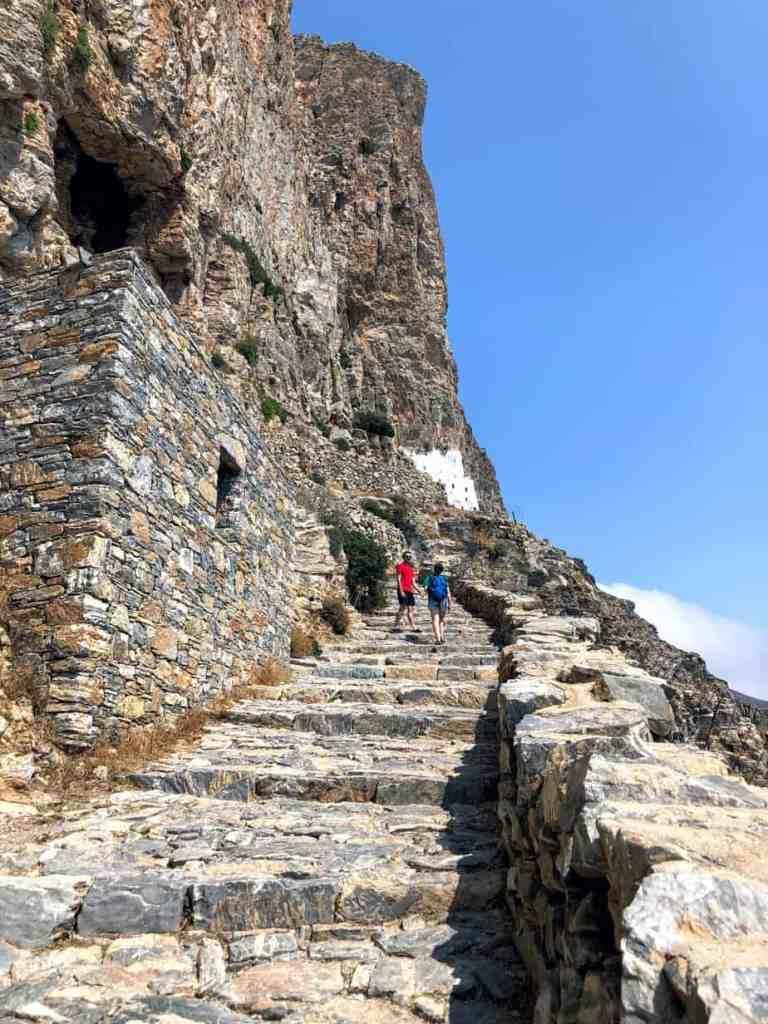 Monastery panagia hozoviotissa stairs in Amorgós