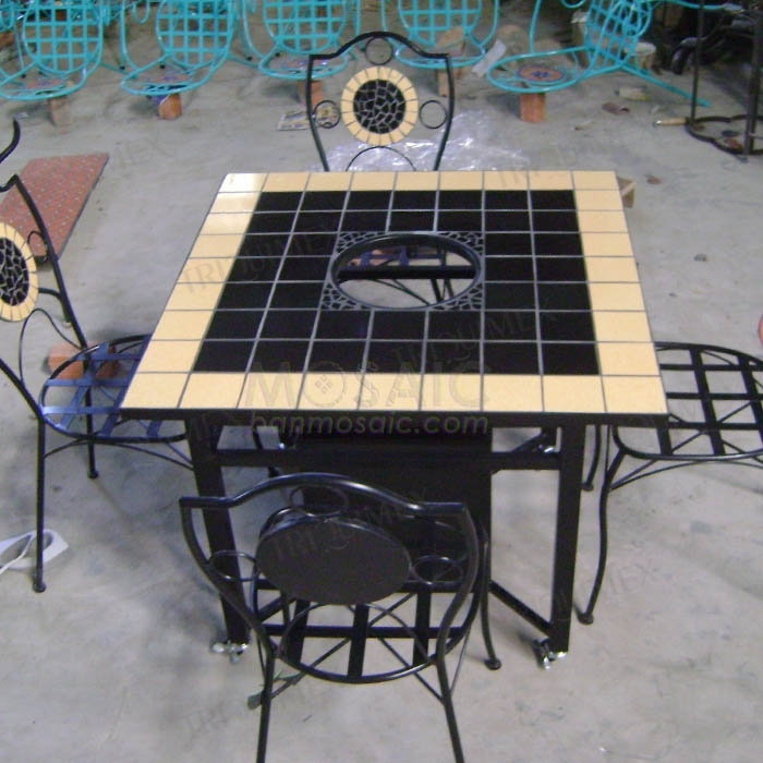 Wrought iron and blaze ceramic mosaic BBQ table set