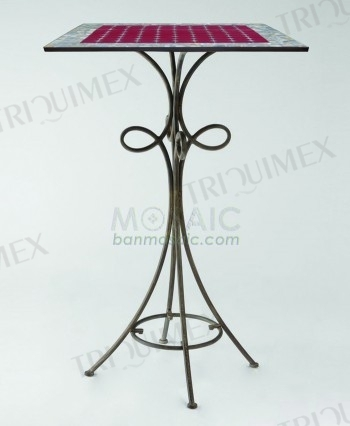 Mosaic Bar Height Bistro Table with Wrought Iron Base