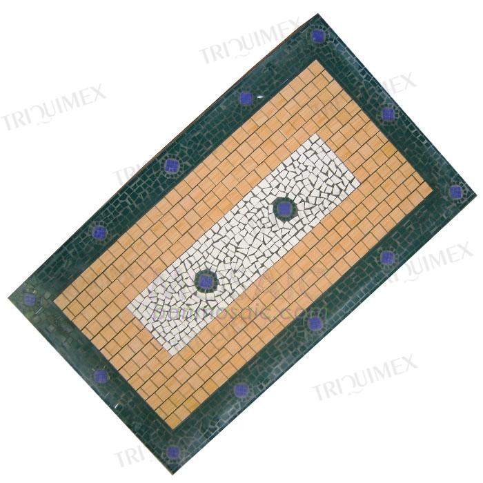 Wrought iron table rectangular mosaic top