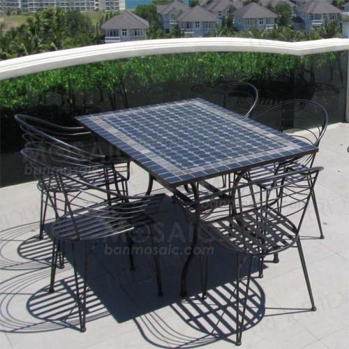 Rectangular Outdoor Dining Table Wrought Iron Base