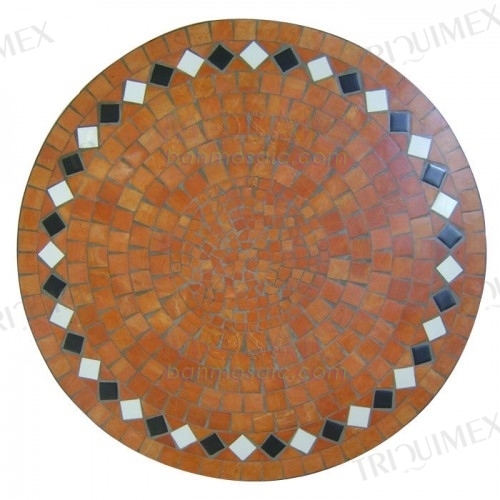 Round Dining Table with Terracotta Mosaic Top