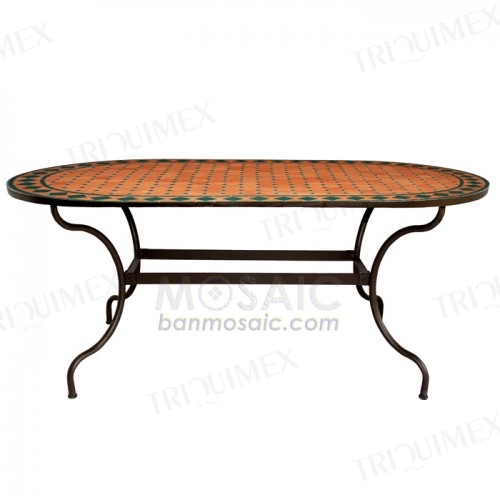 Oval Wrought Iron Dining Table with Terracotta Mosaic Top