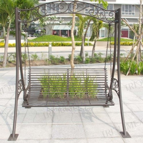 Elegant Wrought Iron Porch Swing with Stand