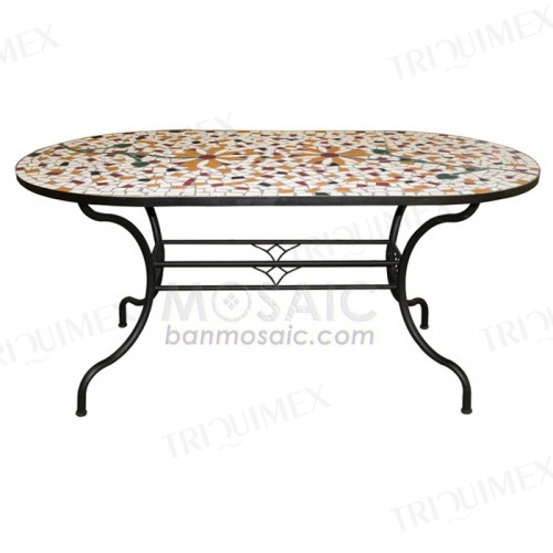 Oval mosaic table for garden coffee shops