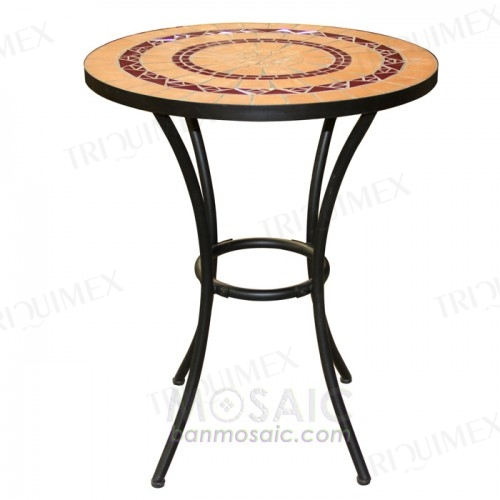 Round Terracotta Mosaic Bar Table Wrought Iron Base