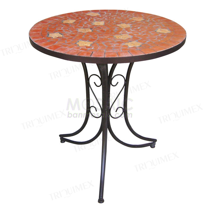 Round Table with Custom Dimension, Wrought Iron Base