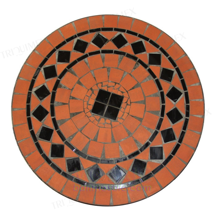 Round Table with Terracotta Mosaic Top