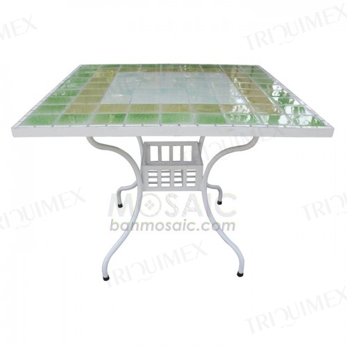 Square Mosaic Table with Wrought Iron Base