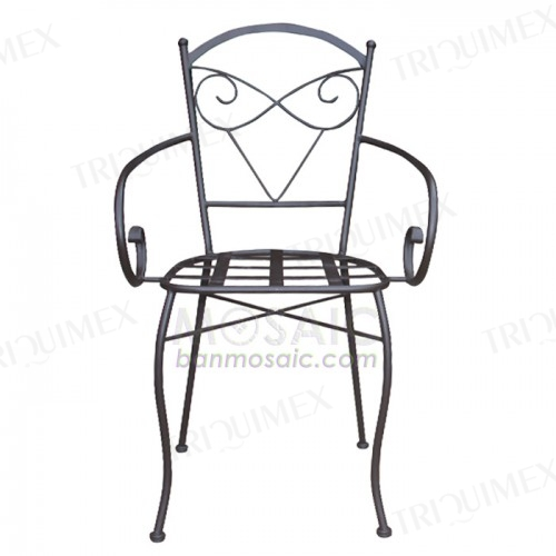 Versatile Wrought Iron Chair with Cute Back