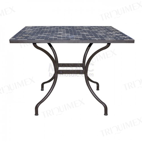Square Iron and Mosaic Patio Table