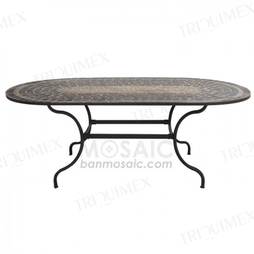 Oval Wrought Iron and Slate Mosaic Table