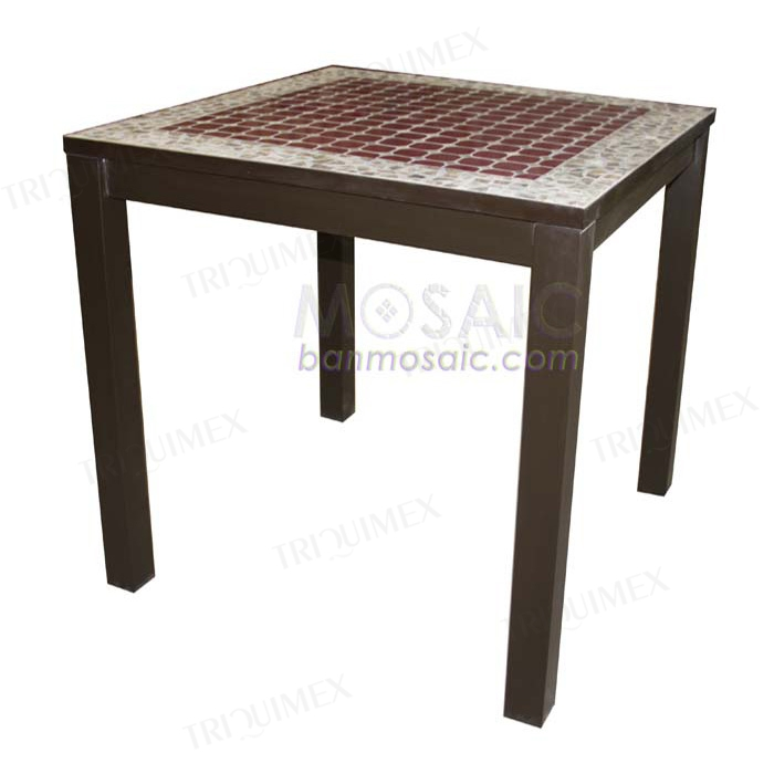 Square Restaurant Dining Table with Mosaic Top