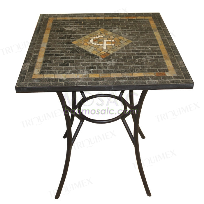 Square Outdoor Table with Mosaic Business Logo