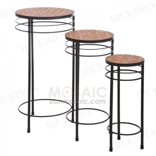 Round Wrought Iron Nesting Plant Stand