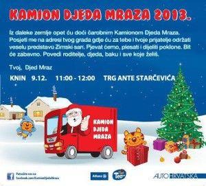 Kamion Djeda Mraza danas u 11 sati stiže u Knin